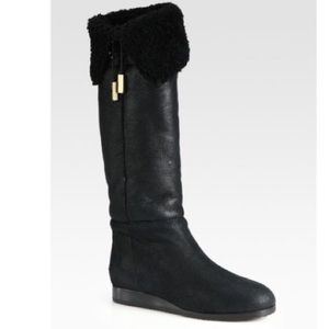 Jimmy Choo-Dilla Leather/Shearling Kneehigh Boots